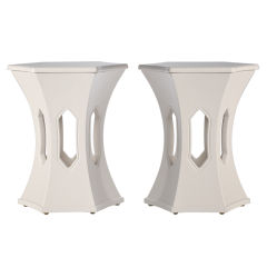 Moorish Style 1960's White Lacquer Side Tables
