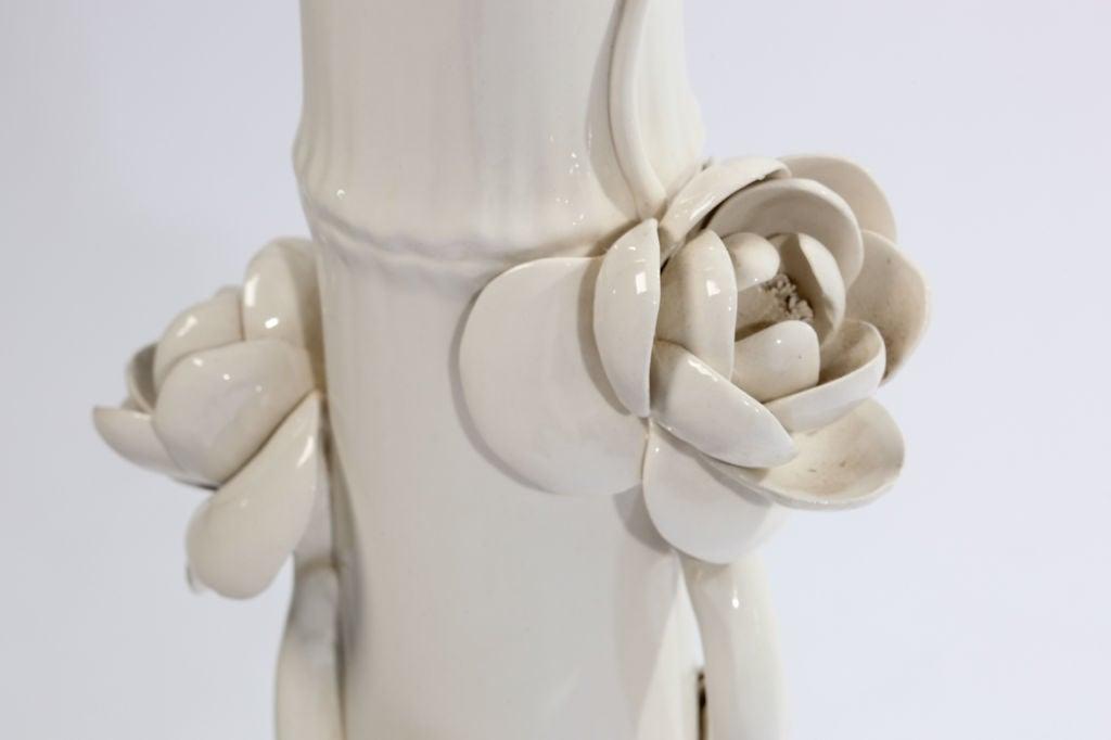 Mid-Century Modern 1960s Italian Ceramic Lotus Flower Faux Bamboo Floor Lamp For Sale
