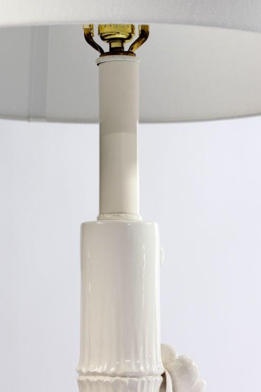 Glazed 1960s Italian Ceramic Lotus Flower Faux Bamboo Floor Lamp For Sale