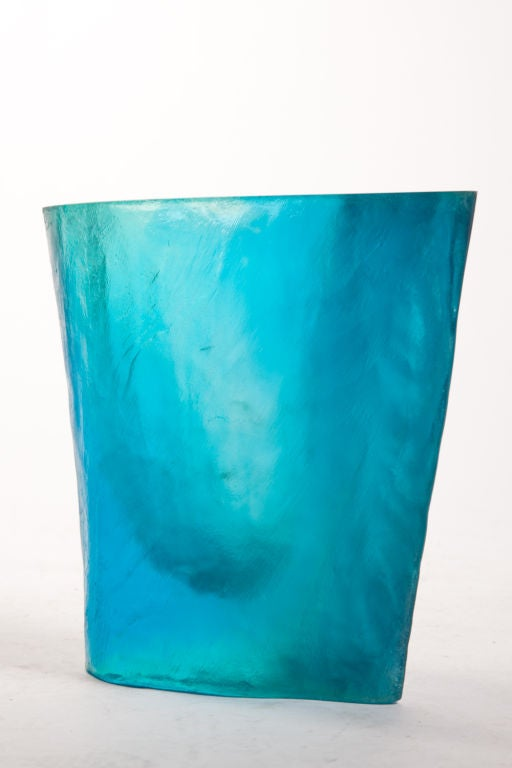 Turquoise acrylic optical sculpture vase, signed Balle, has a beautiful light quality reflecting through.  Artist Terry Balle work as an optical sculptor reflects his background in science, art and psychology. He received his doctorate in physical