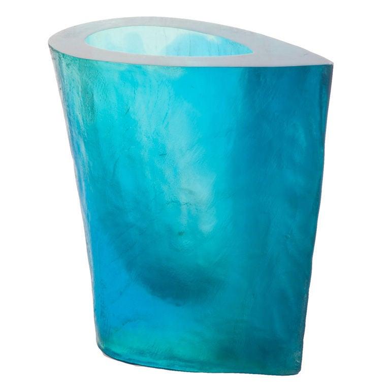 Terry Balle Acrylic Optical Sculpture Vase For Sale