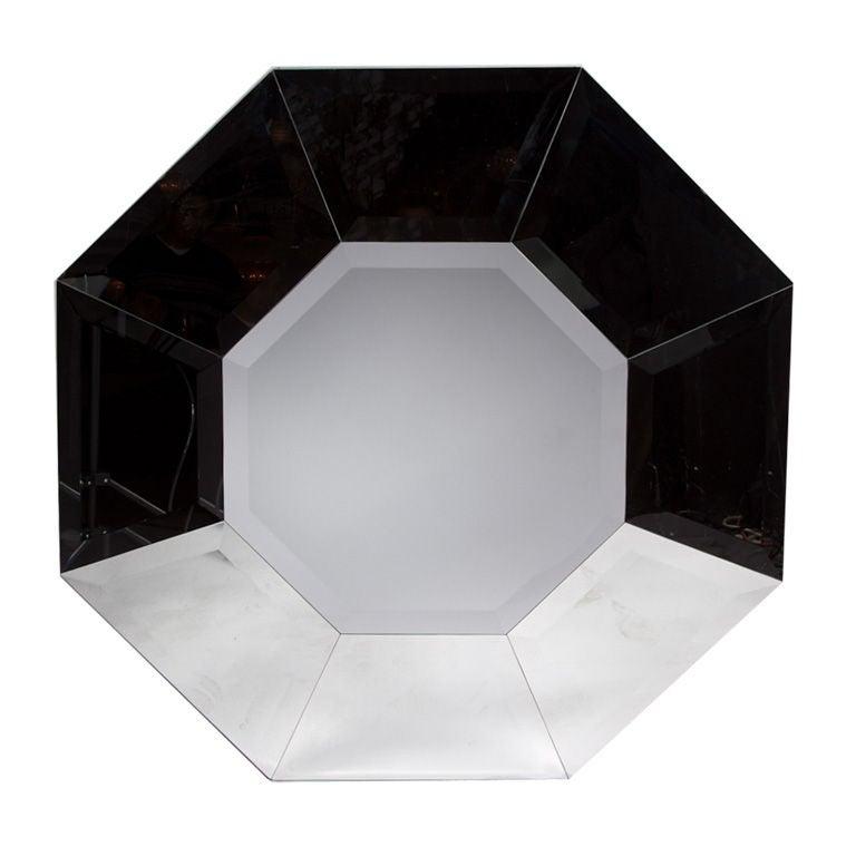 Karl Springer Octagonal 1970s Beveled Glass Mirror