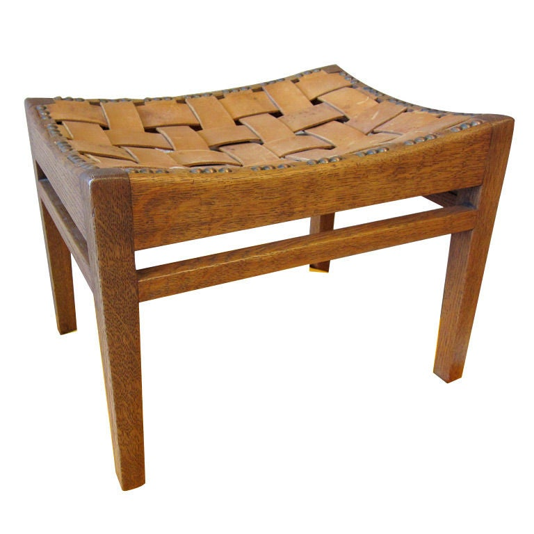 Arthur Simpson Oak And Leather Strap Easy Stool At 1stdibs