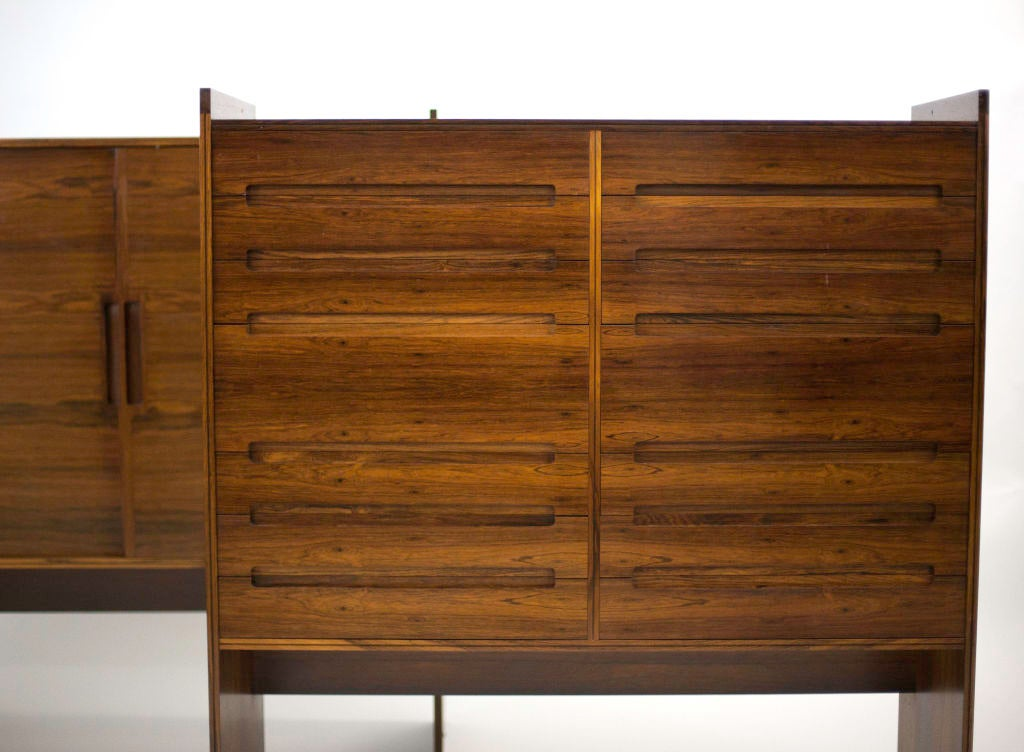 Jalk designed rosewood cabinet-sideboard. Designed by the prolific Danish designer and architect Grete Jalk, and fabricated in lavish rosewood by P. Jeppesen in 1960. Jalk is one of the few woman ever to be classed with the Scandinavian design