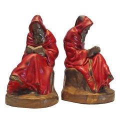 Bronze Bookends - Reading Monks