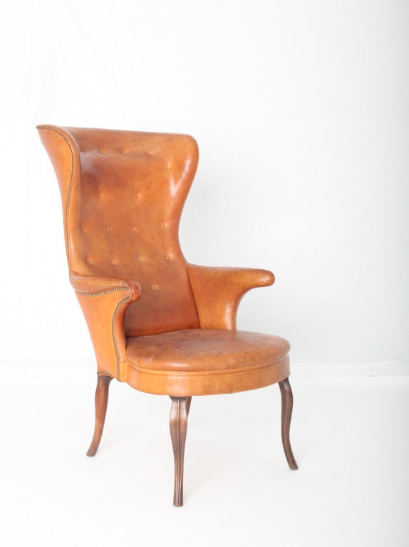 Danish Frits Henningsen High wingback chair For Sale