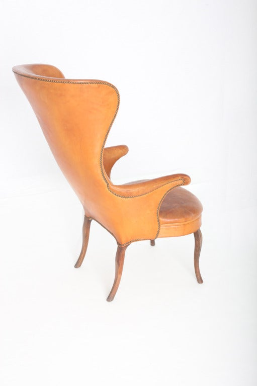 Frits Henningsen High wingback chair In Excellent Condition For Sale In Los Angeles, CA