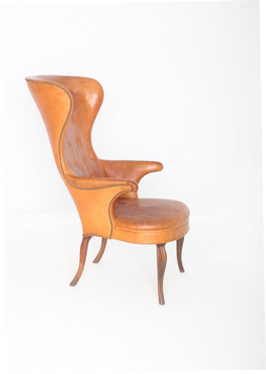 Mid-20th Century Frits Henningsen High wingback chair For Sale