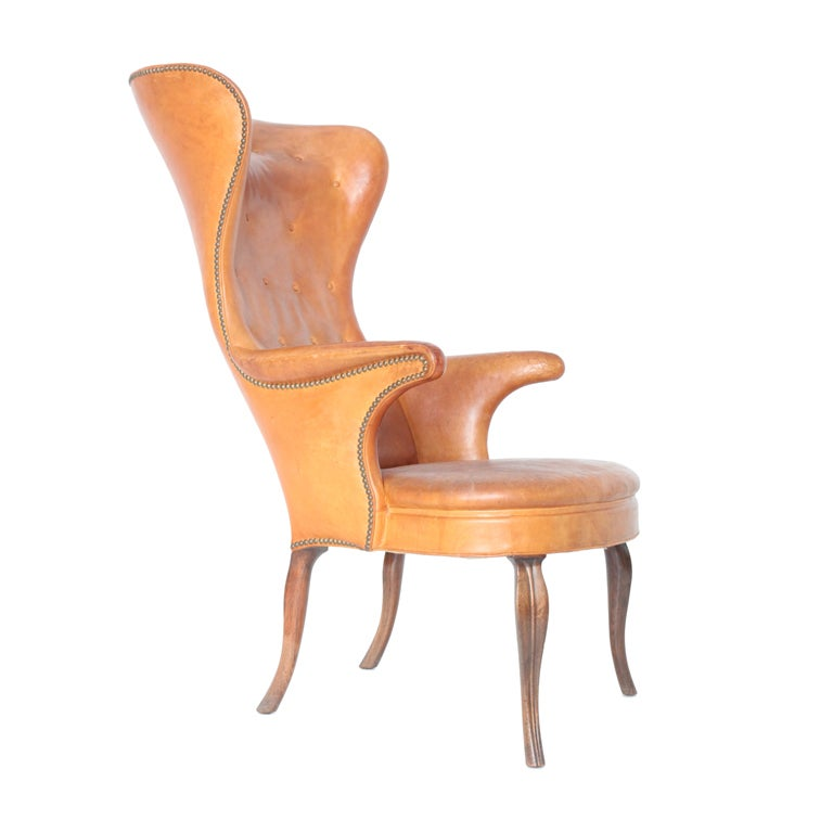 Frits Henningsen High wingback chair For Sale