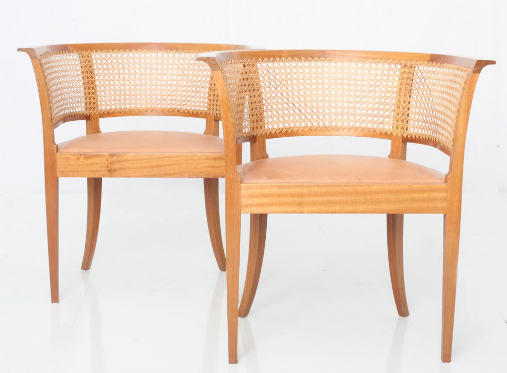 Kaare Klint Faaborg chair ( pair) In Excellent Condition For Sale In Los Angeles, CA
