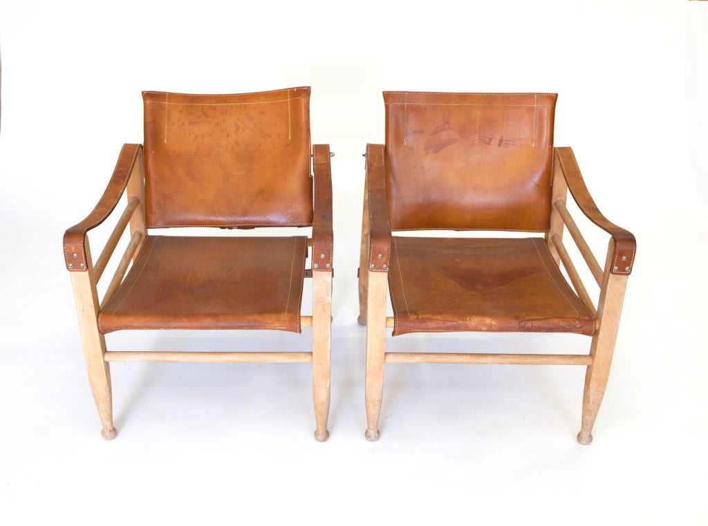 Pair Of Leather Quot Safari Quot Chairs At 1stdibs