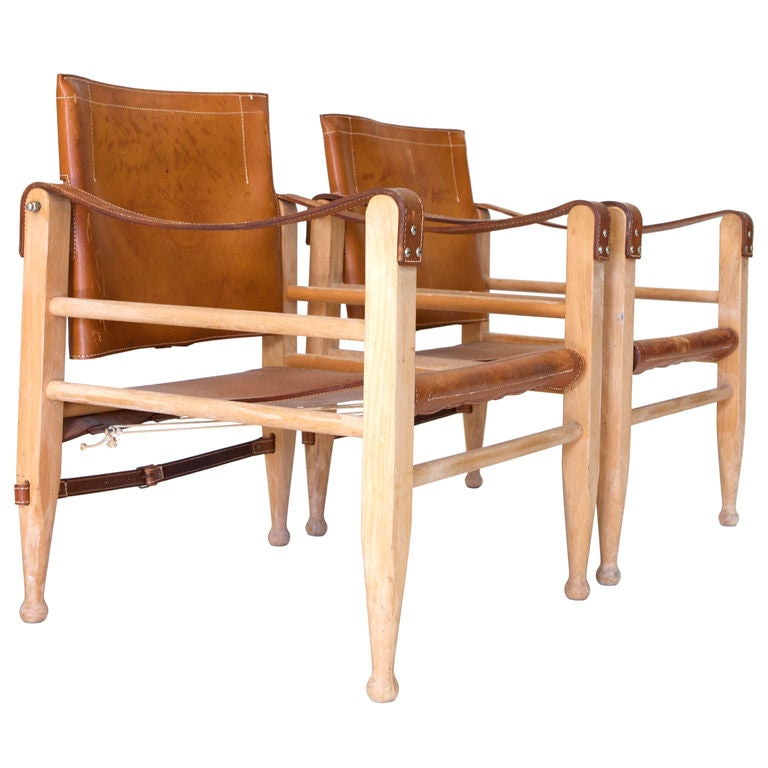 """Pair of Leather """"Safari"""" Chairs"""