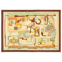 Magnificent 1970s Abstract Aubusson Tapestry