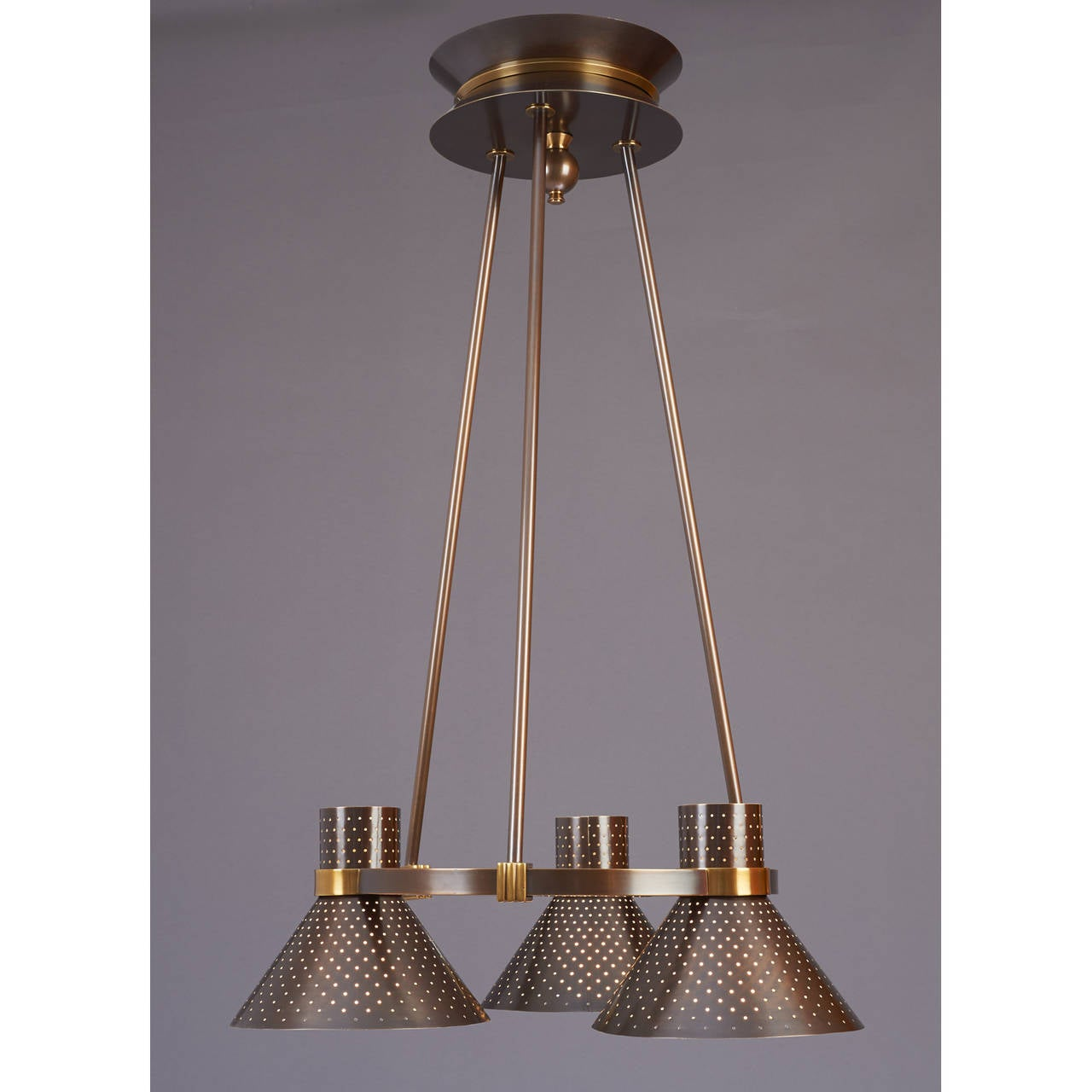 Mid-Century Modern Modernist Bronze Chandelier with Perforated Shades, France, 1950s For Sale