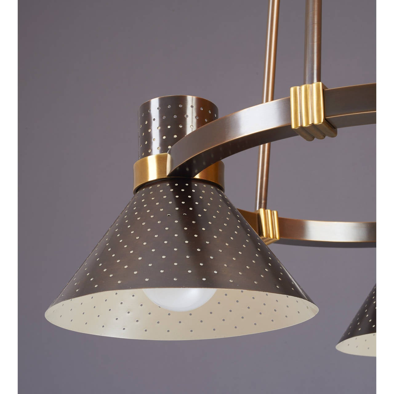 French Modernist Bronze Chandelier with Perforated Shades, France, 1950s For Sale