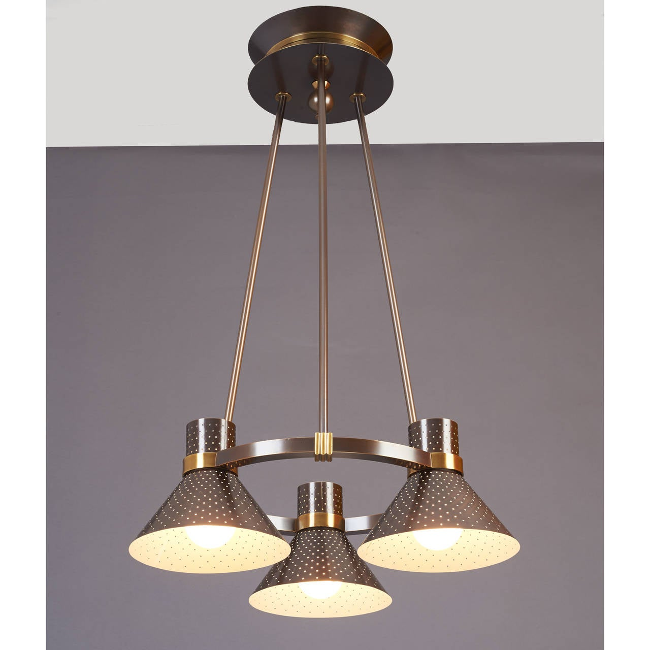 Mid-20th Century Modernist Bronze Chandelier with Perforated Shades, France, 1950s For Sale