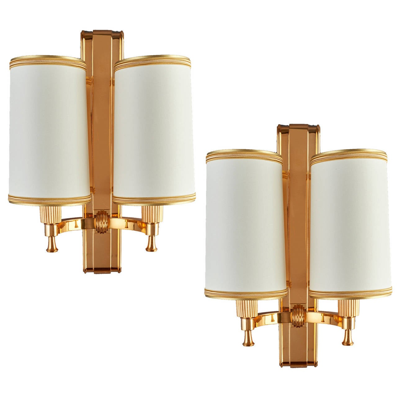 Elegant 1940's Bronze Sconces by Maxime Old 1