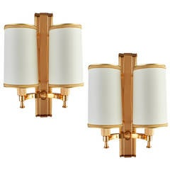 Elegant 1940's Bronze Sconces by Maxime Old