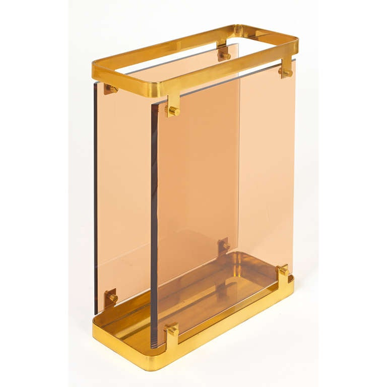 Mid-Century Modern Large Fontana Arte Peach Colored Glass Umbrella Stand , 1960s For Sale