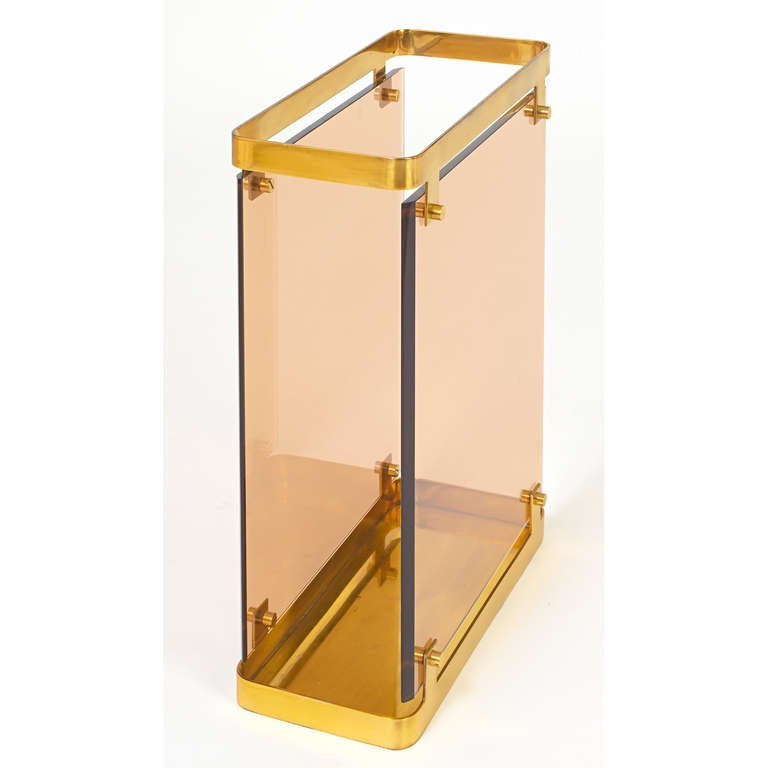 Large Fontana Arte Peach Colored Glass Umbrella Stand , 1960s In Excellent Condition For Sale In New York, NY