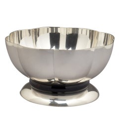 Silvered Bowl with Mahogany Base by Orfevrerie Gallia, 1930s
