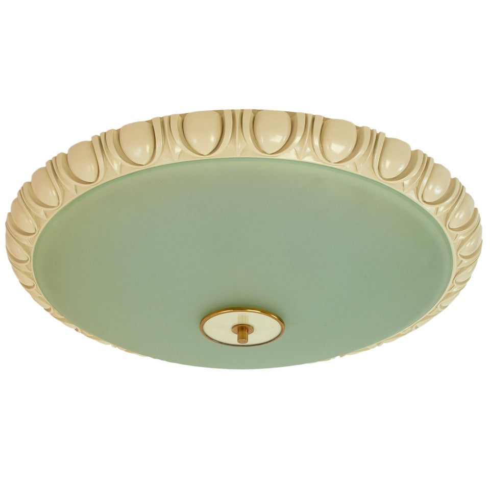 Large Fontana Arte Glass Ceiling Light with Carved Wood Frame, 1940s