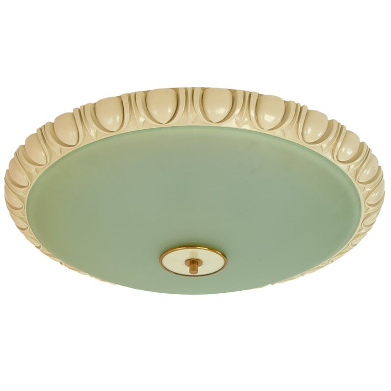 Large Fontana Arte Glass Ceiling Light with Carved Wood Frame, 1940s For Sale