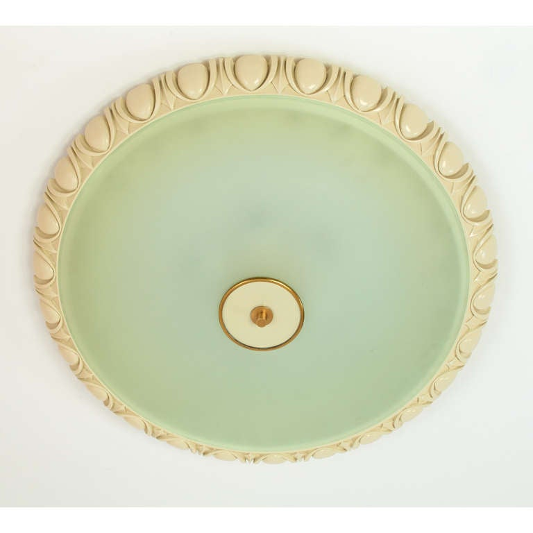 Mid-Century Modern Large Fontana Arte Glass Ceiling Light with Carved Wood Frame, 1940s For Sale