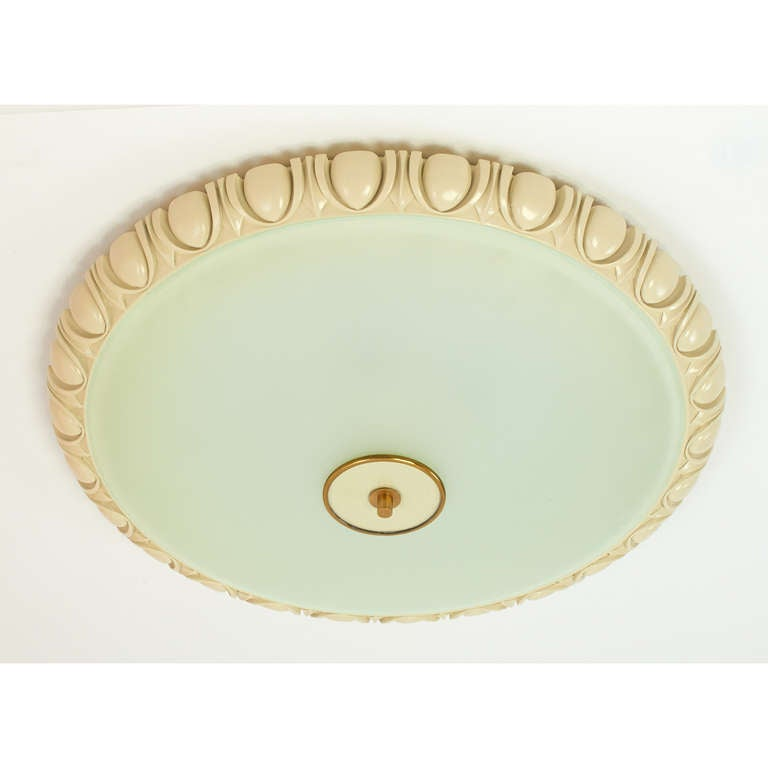 Italian Large Fontana Arte Glass Ceiling Light with Carved Wood Frame, 1940s For Sale