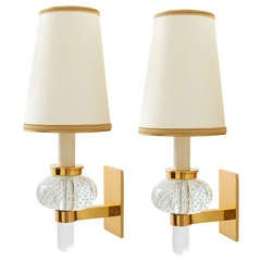 Pair of Italy, 1950s Bubble Glass Sconces