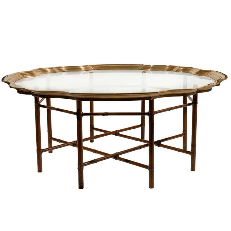 Baker faux bamboo and brass coffee table at 1stdibs Baker coffee table