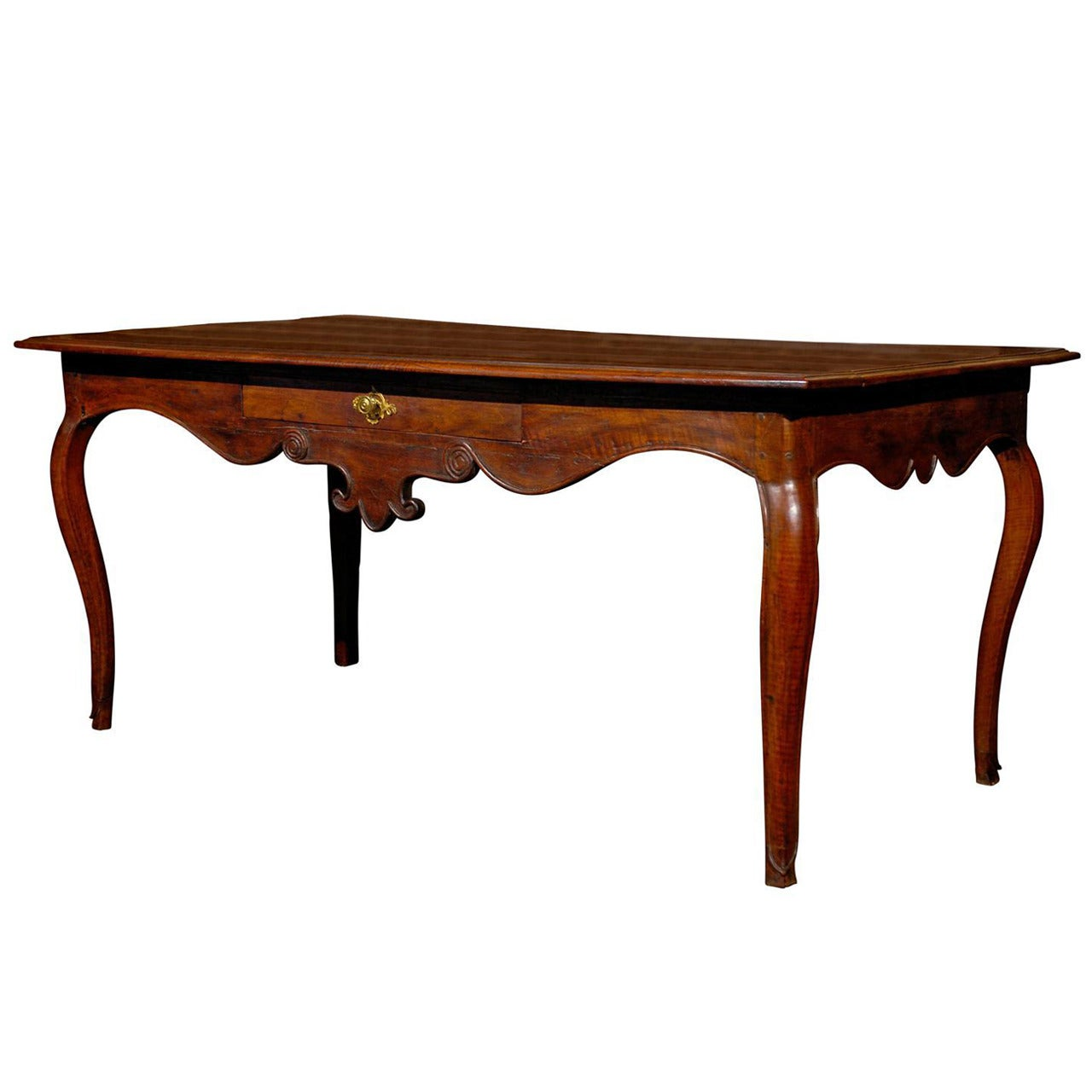 French 1860s Walnut Console Table with Exquisite Carved Apron and Cabriole Legs