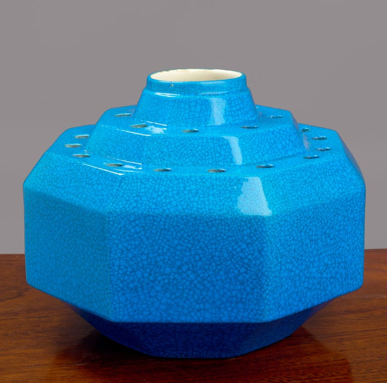 Keramis Deep turquoise blue glazed crackled ceramic tulip vase by Keramis. Belgium, 1930's Signed and Stamped with serial no. 1027  7 H x 9 W