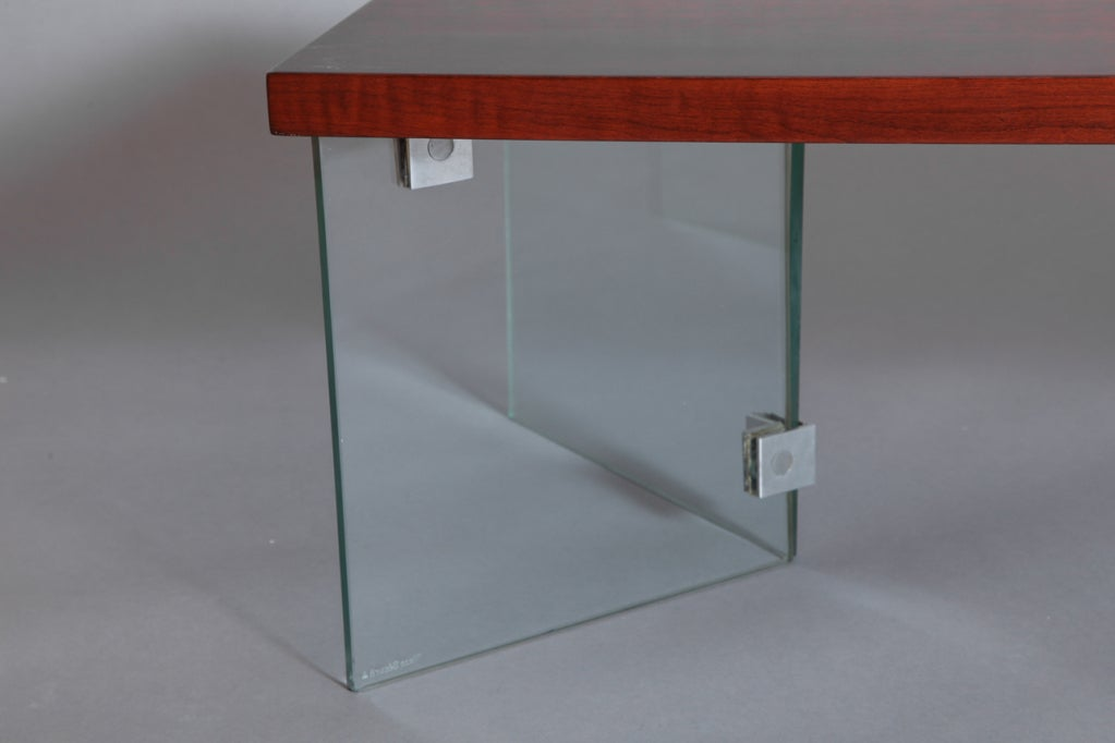 Mid Century Modern Jacques Dumond 1950s Coffee Table With Glass Legs For  Sale