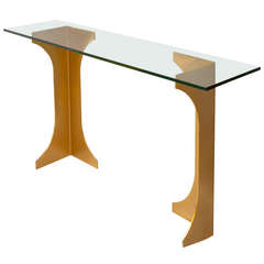 1970s Bronzed Pedestal Console Table