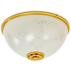 A Pair of Ceiling Lights with Reticello Glass by Venini