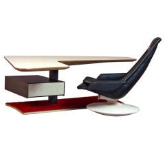 Boomerang Desk and Gemini Chair, France, 1970s