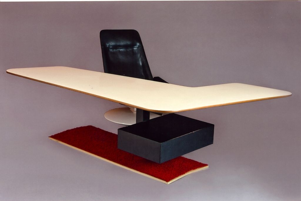 Mid-Century Modern Boomerang Desk and Gemini Chair, France, 1970s For Sale
