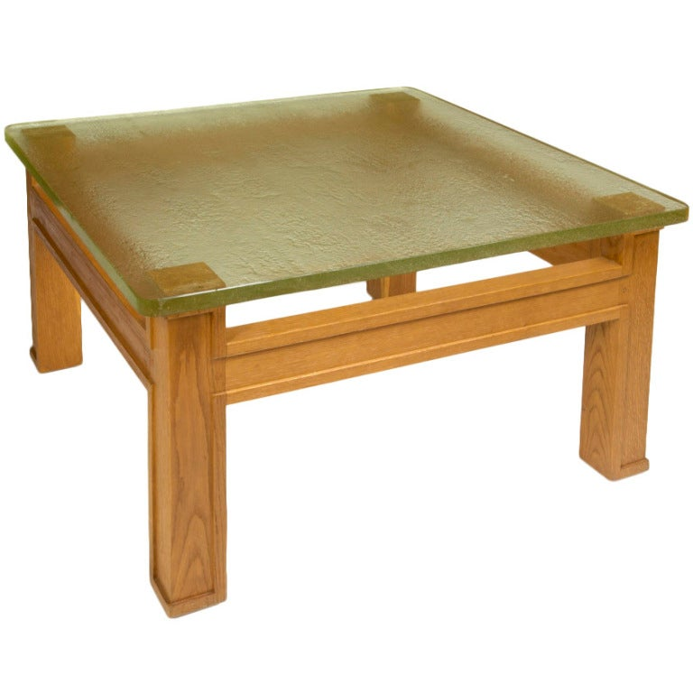 Modernist Oak and Sand Cast Glass Table Attributed to Adnet, circa 1950 For Sale