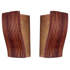 Pair of 1950s Diminutive Uplight Sconces in Reeded Mahogany