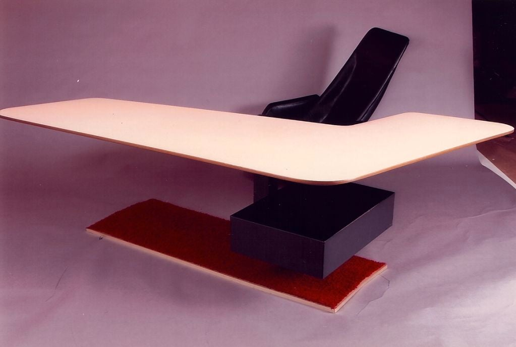 Boomerang Desk and Gemini Chair, France, 1970s In Good Condition For Sale In New York, NY