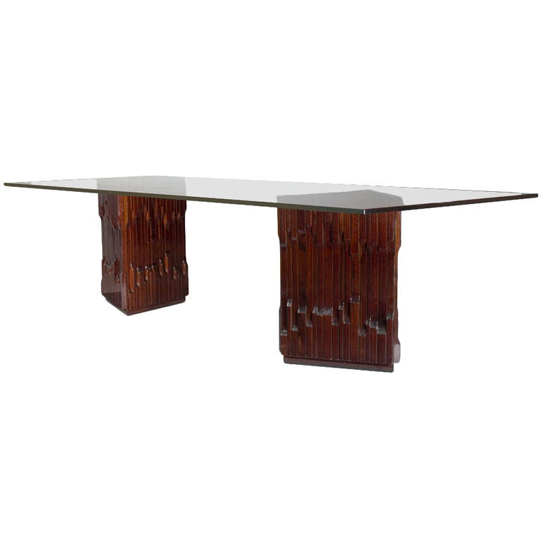 Italian Long Carved Mahogany Dining Table by Luciano Frigerio, 1970s For Sale