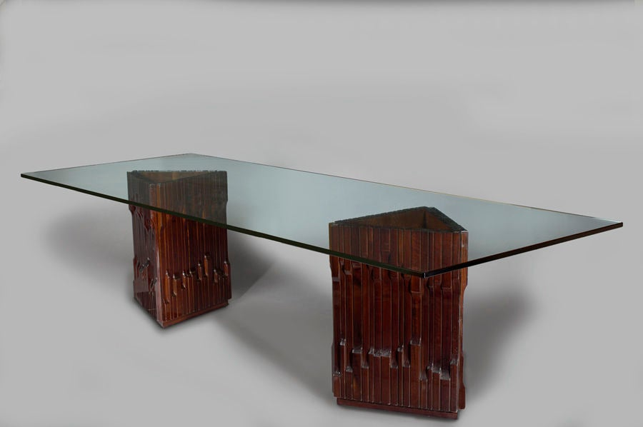Glass Long Carved Mahogany Dining Table by Luciano Frigerio, 1970s For Sale