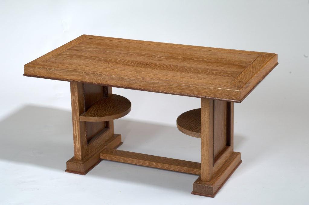 Cerused oak coffee table with contrasting trim, France, 1950s. Dimensions: 36 x 20 x 19.5 H.