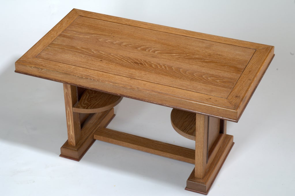 Mid-Century Modern Cerused Oak Coffee Table, France, 1950s For Sale