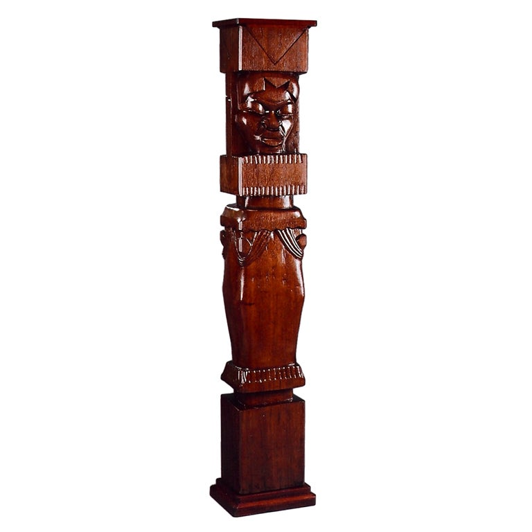 Africanist Palmwood Pedestal by Charles Combes For Sale