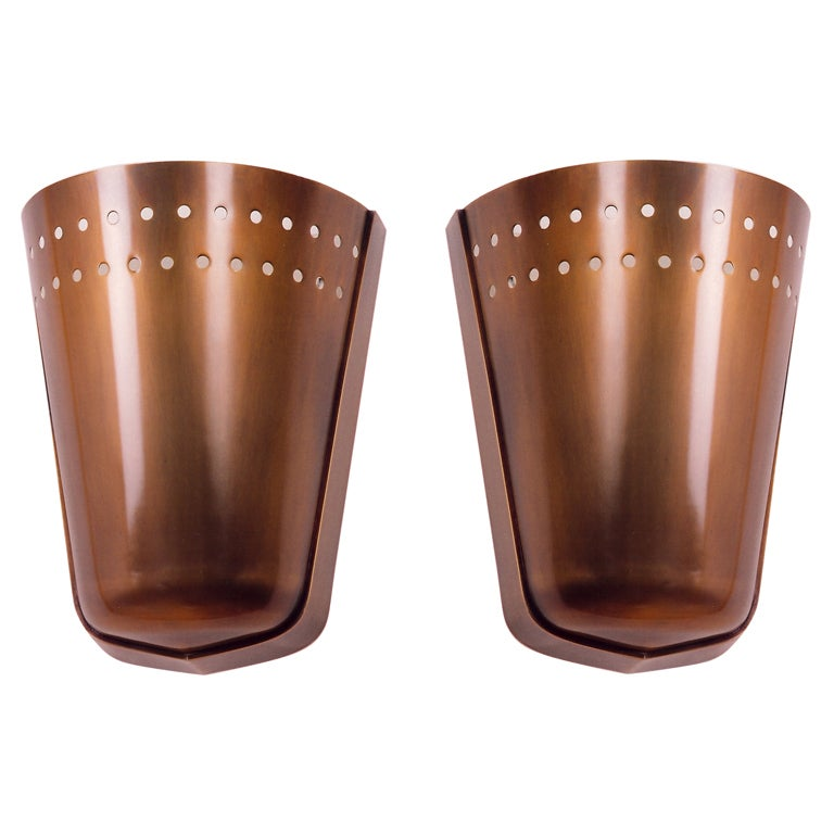 Modernist pair of oxidized bronze sconces for sale at 1stdibs for What kind of paint to use on kitchen cabinets for art deco wall sconces lighting