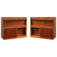 Pair of Italian 1950s Trapezoidal Wall-Mounted Bedside Tables