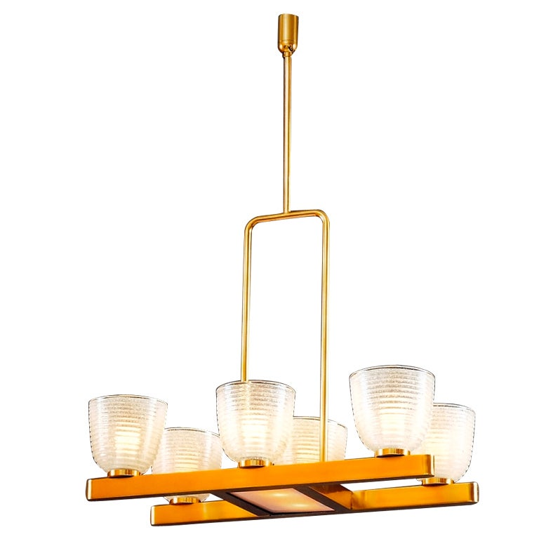 Six Branch Murano Chandelier with Pulegoso Glass Shades, Italy, 1950s