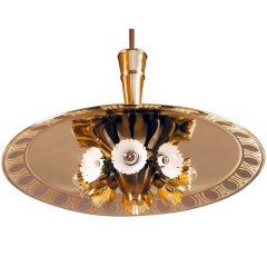 Fontana Arte  Chandelier with Gold Gilt Mirrored Shade, Italy 1940s